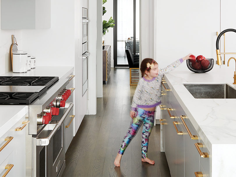 A young girl in a beautiful clean kitchen to illustrate the FlyLady cleaning method.
