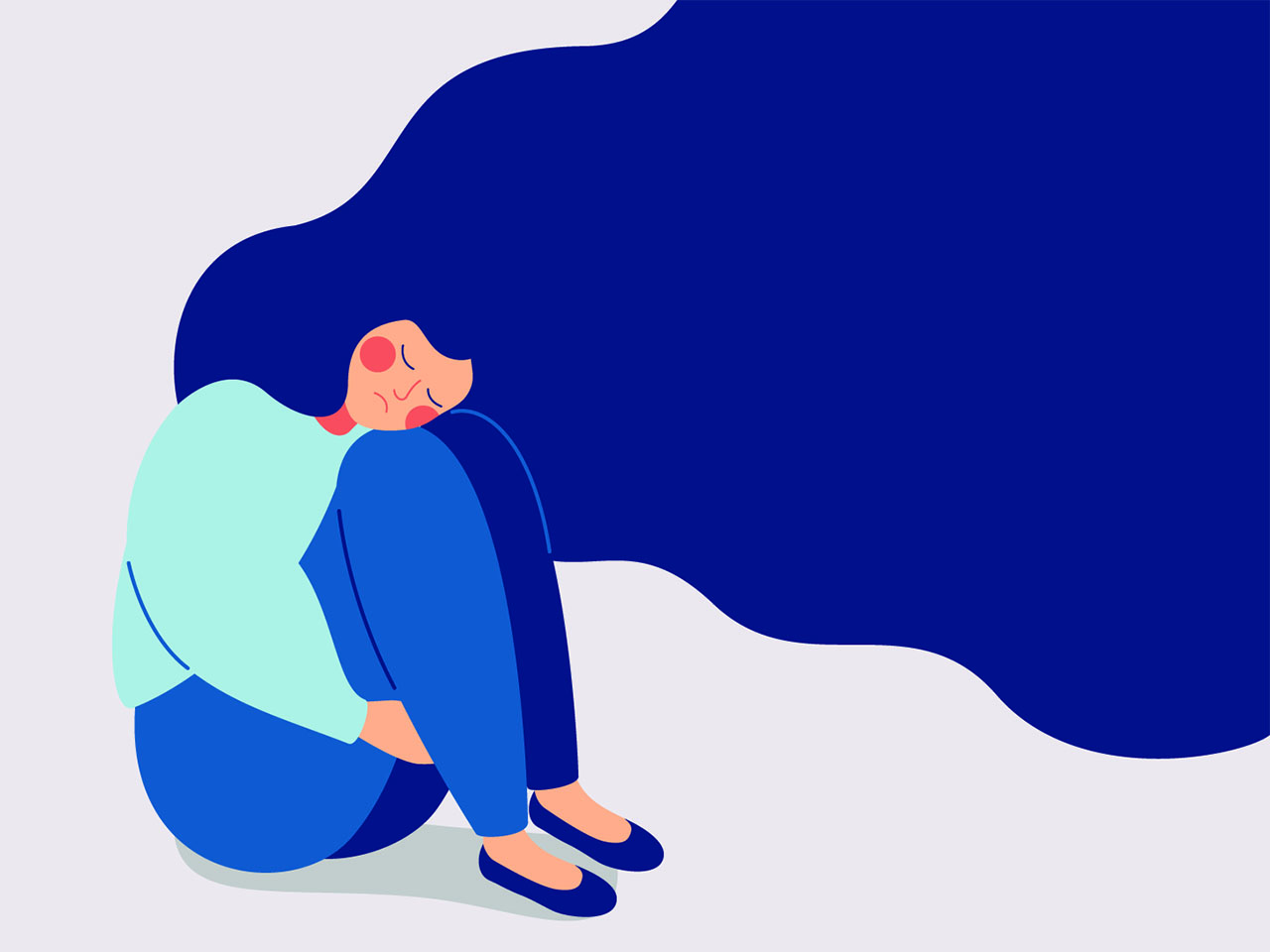 An illustration of a woman hugging her knees with flowing blue hair