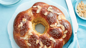 Chatelaine's braided egg bread, on a light blue background