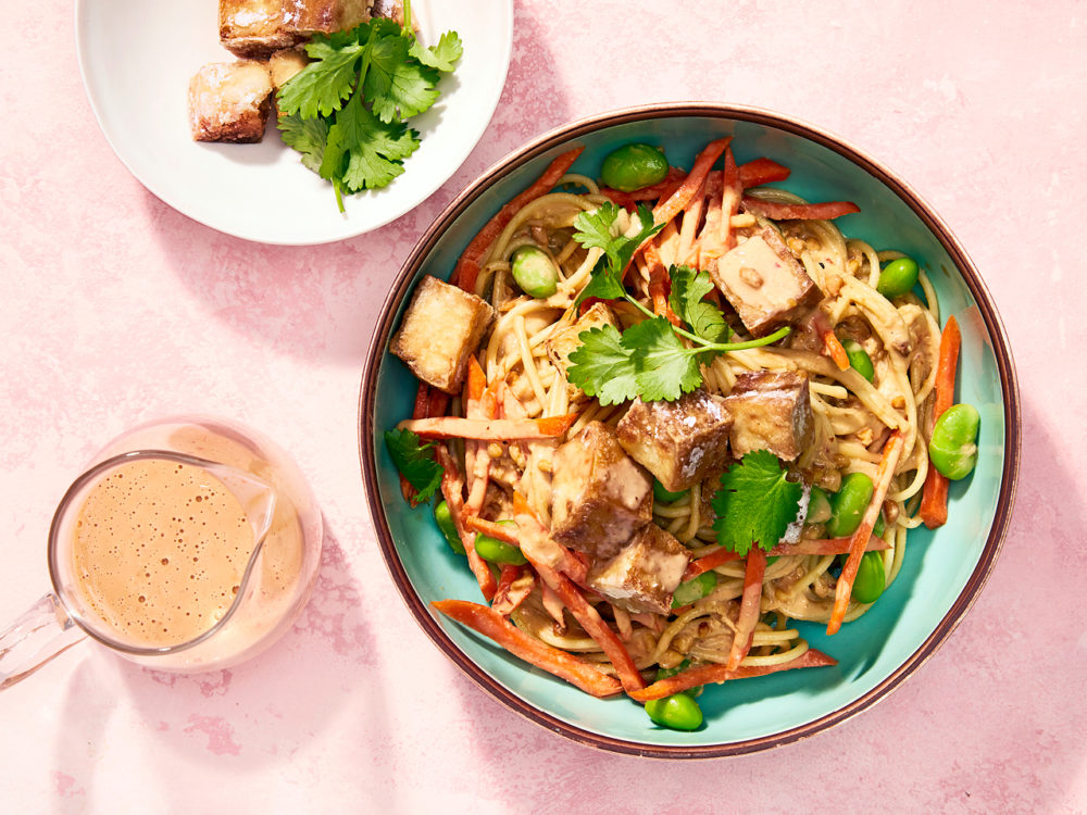Cold spicy peanut noodles with smoked tofu