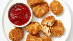 "Tofu ""Chicken"" Nuggets recipe: An image of plant-based vegan nuggets"