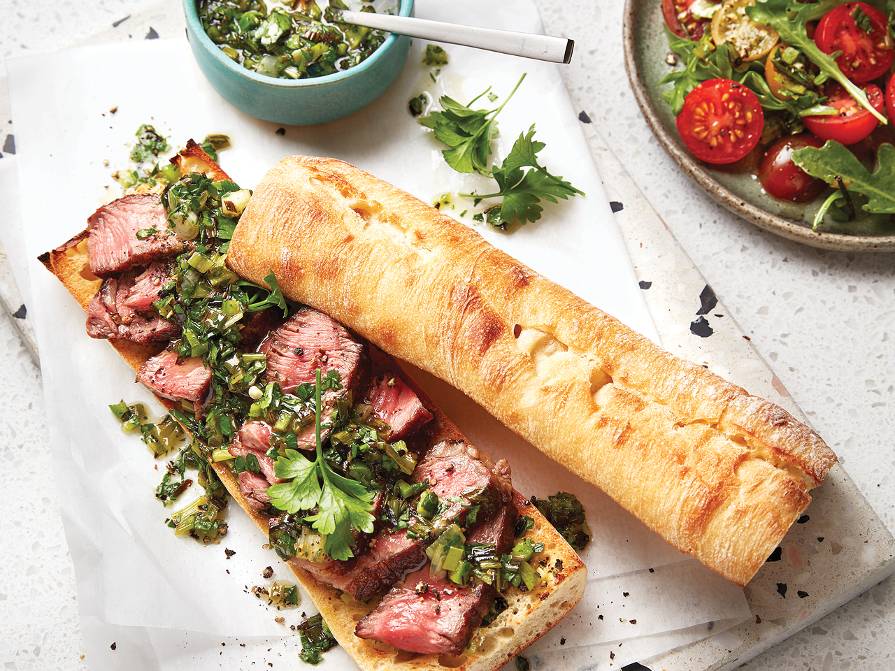 Open-Face Steak Sandwiches with Green Onion Salsa
