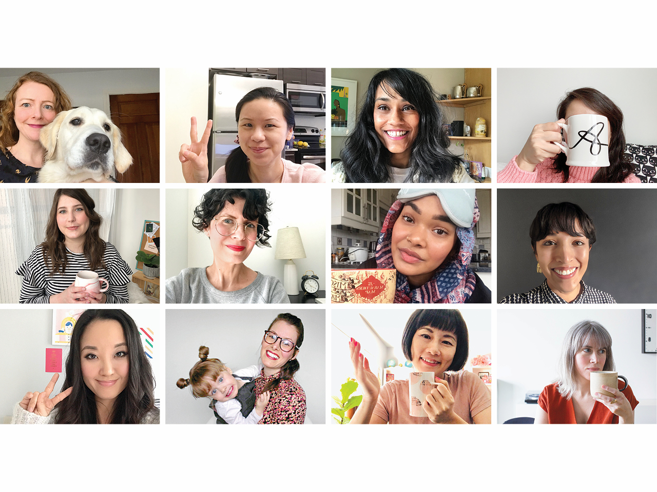 A grid, similar to Google Hangouts, featuring photos of the Chatelaine team