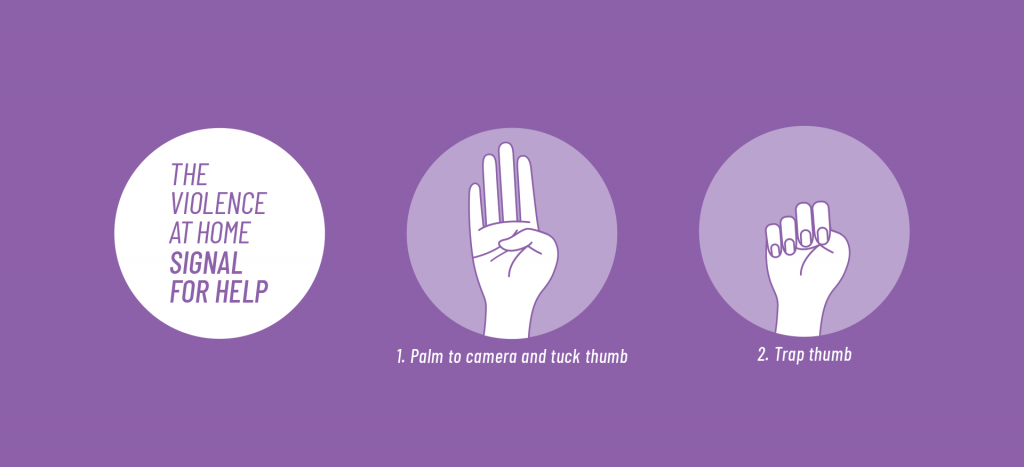 An image of the hand sign that the Canadian Women's Foundation is encouraging people in abusive domestic situations to use this hand signal in video calls if they need help during the pandemic.