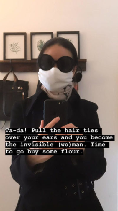 selfie of irene ngo with a face mask and sunglasses before heading out to buy groceries