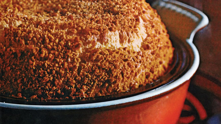 a chicken casserole dusted in breadcrumbs baked in a red dish
