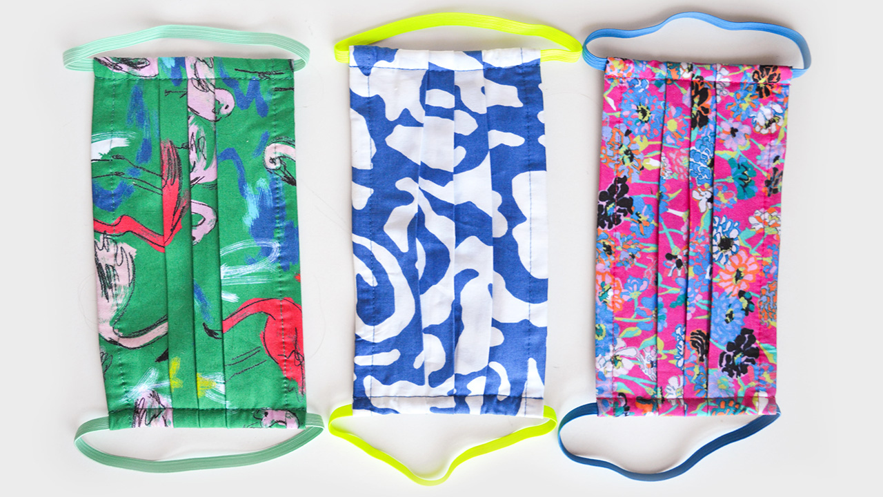Three colourful non-medical face masks from designer Tanya Taylor for a FAQ on face masks