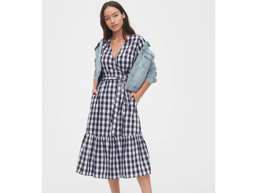 Gap Gingham Wrap Midi Dress