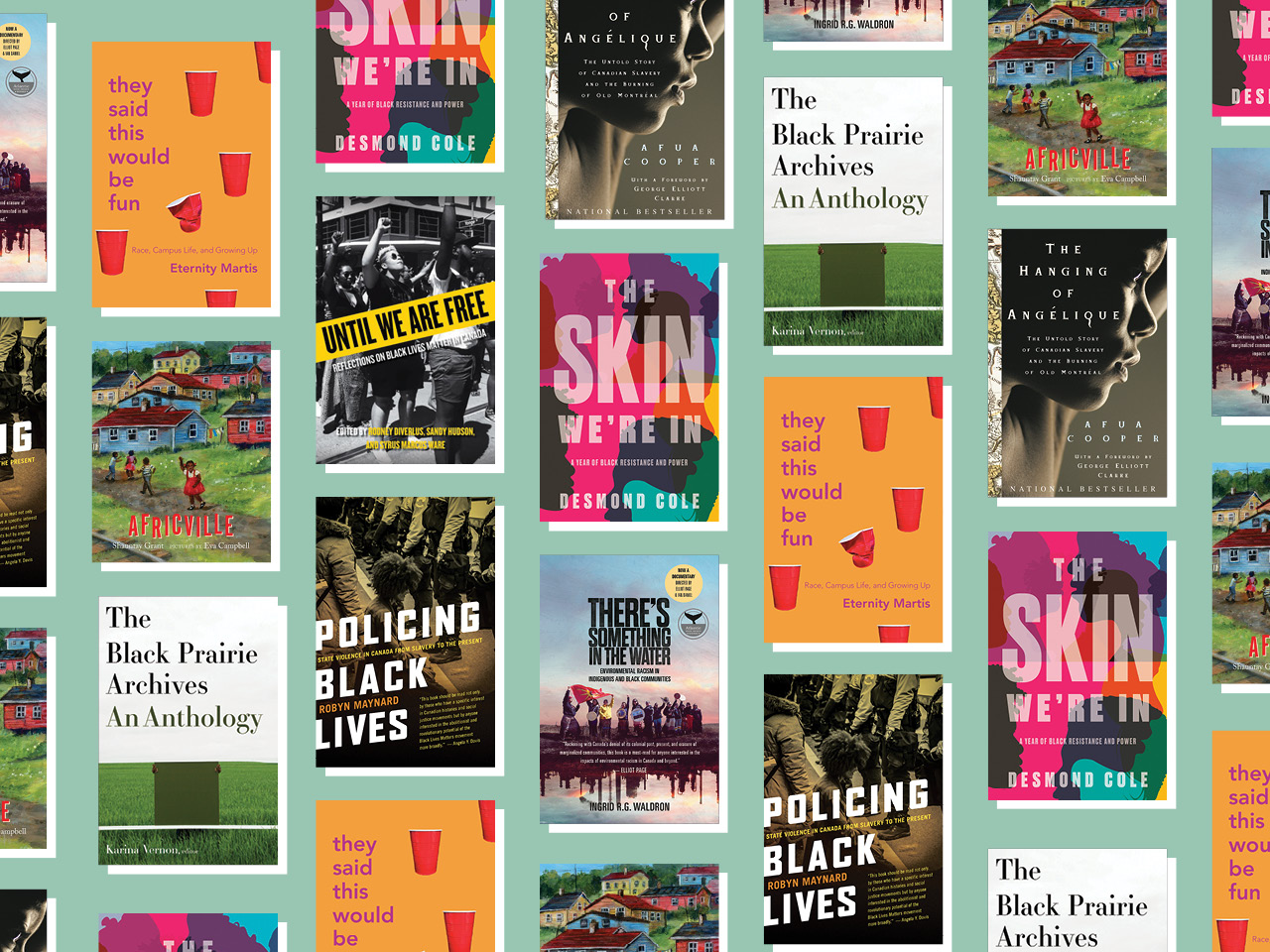 A photo collage of the covers of the listed books.