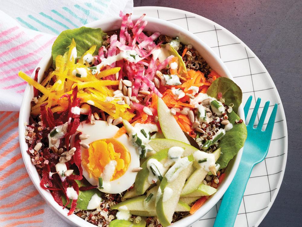 Veggies and quinoa in a bowl.