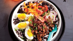 Ginger beef rice in a bowl.