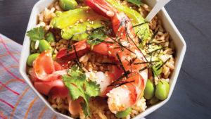 Shrimp and coconut rice in a bowl.