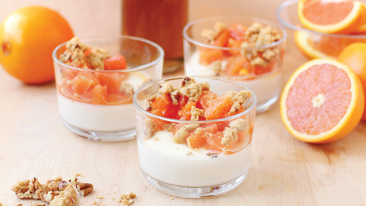 Maple Panna Cotta with Cara Cara Oranges and Pecan-Maple Crumble