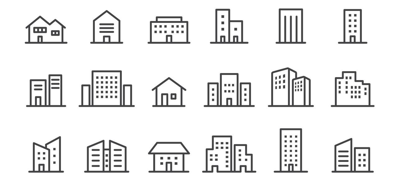 Black and white line illustrations of different buildings