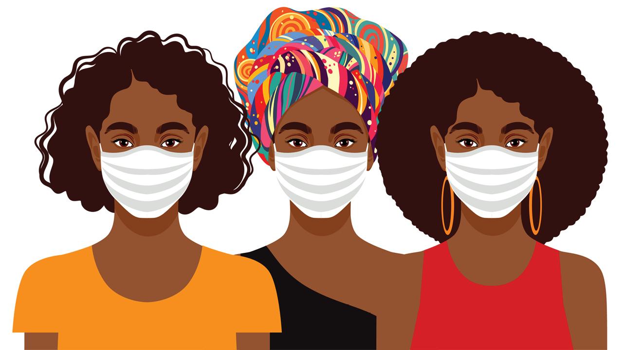 An illustration of three Black women wearing medical masks.