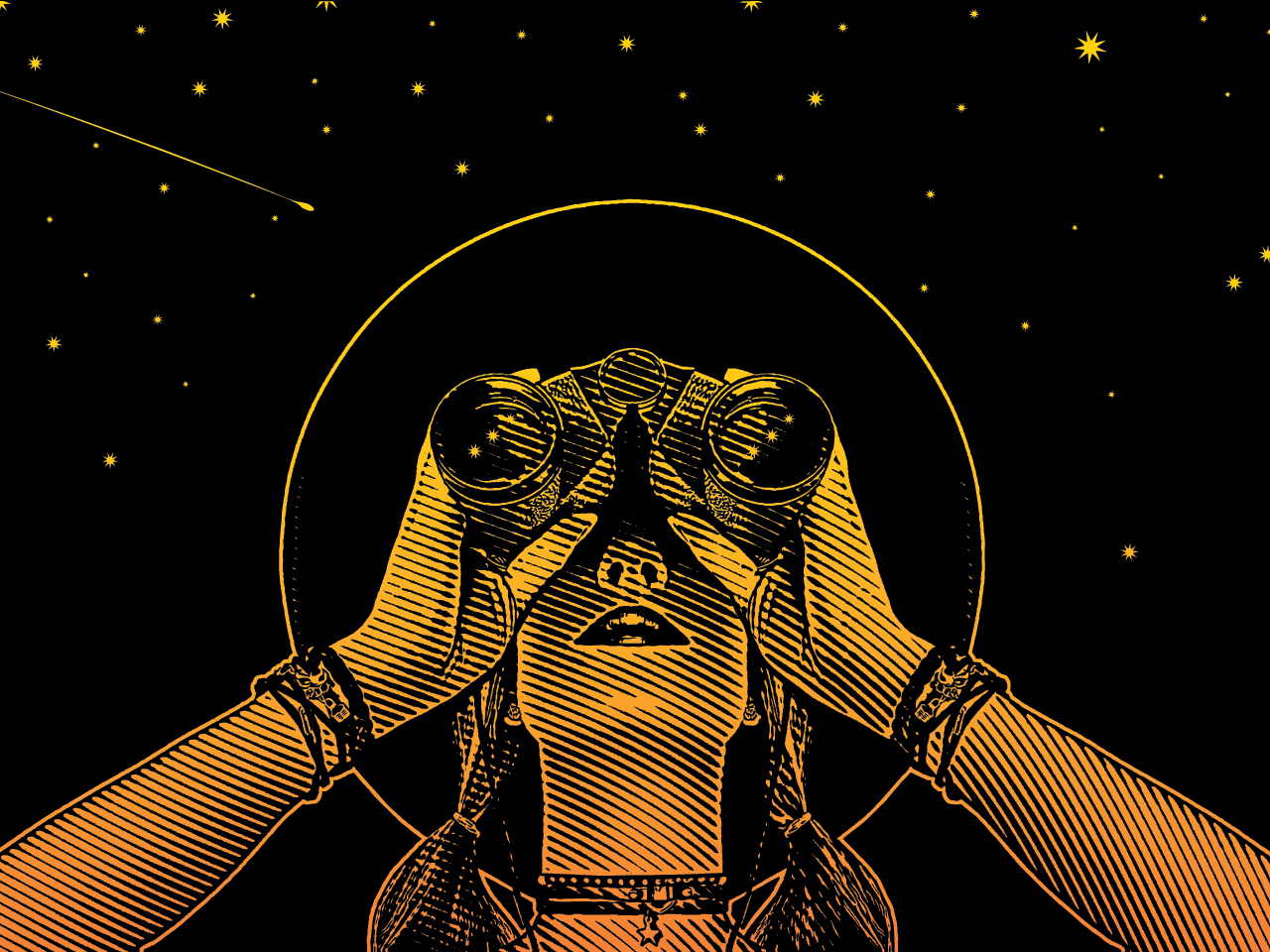 An illustration of a woman looking through binoculars into the night sky