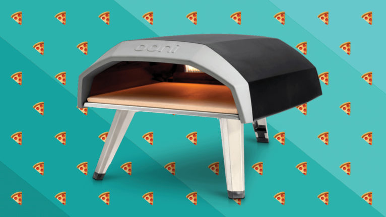 a lit pizza oven with pizza emojis in the background