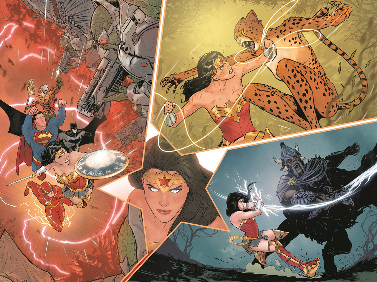 A collection of images of Wonder Woman, drawn by Mariko Tamaki.