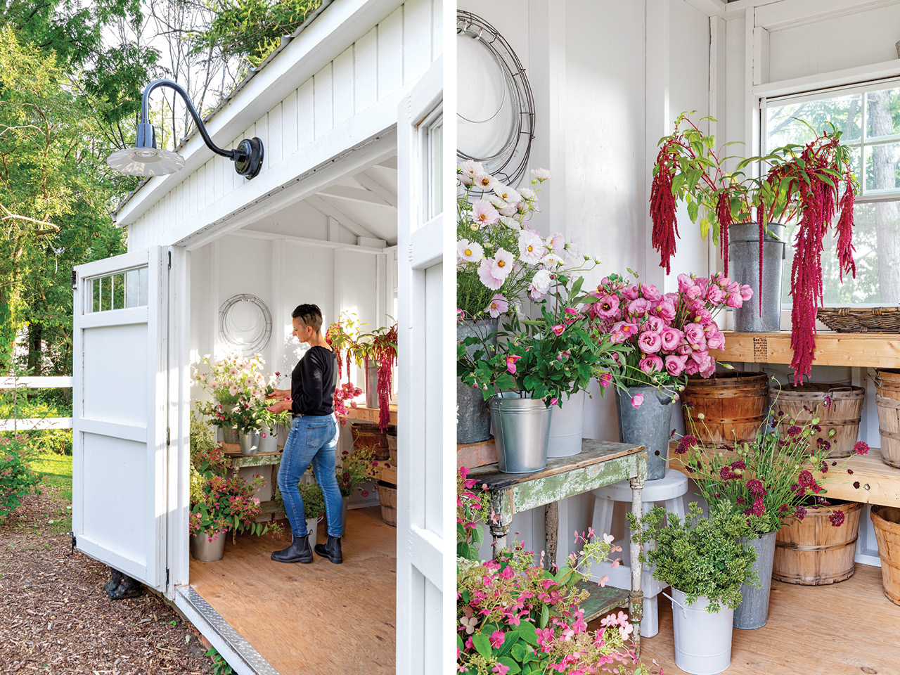 A photo of floral designer Cynthia Zamaria's cutting garden and potting shed.