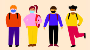 An illustration of schoolchildren wearing masks for a piece on how schools have reopened around the world
