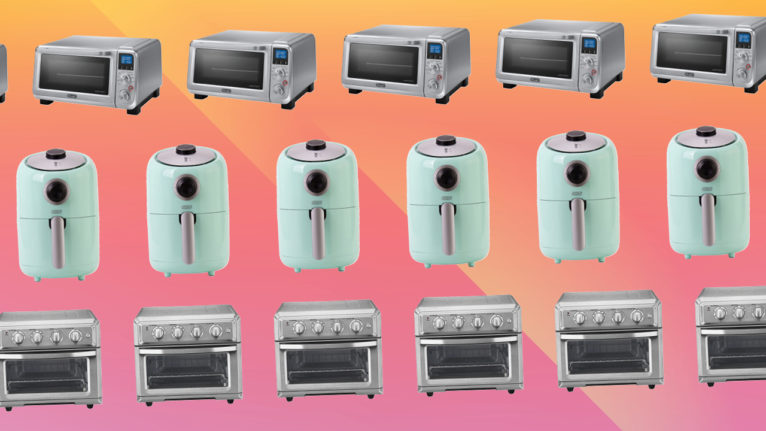 three types of air fryers on a pink and orange background