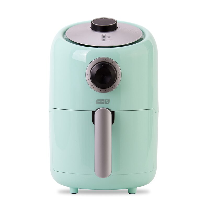 a turquoise air fryer