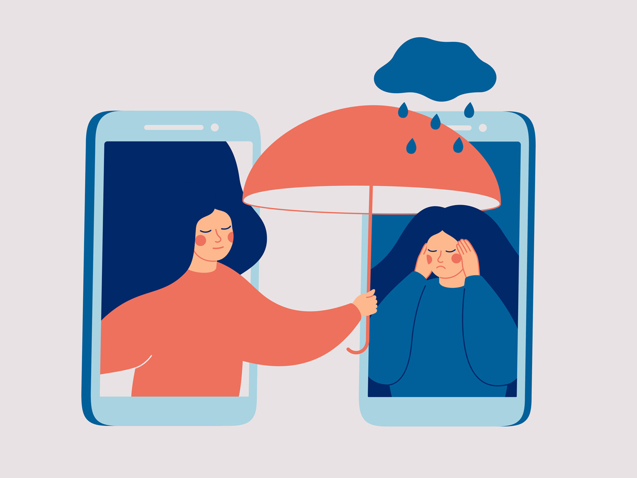 illustration of girl holding umbrella up for friend