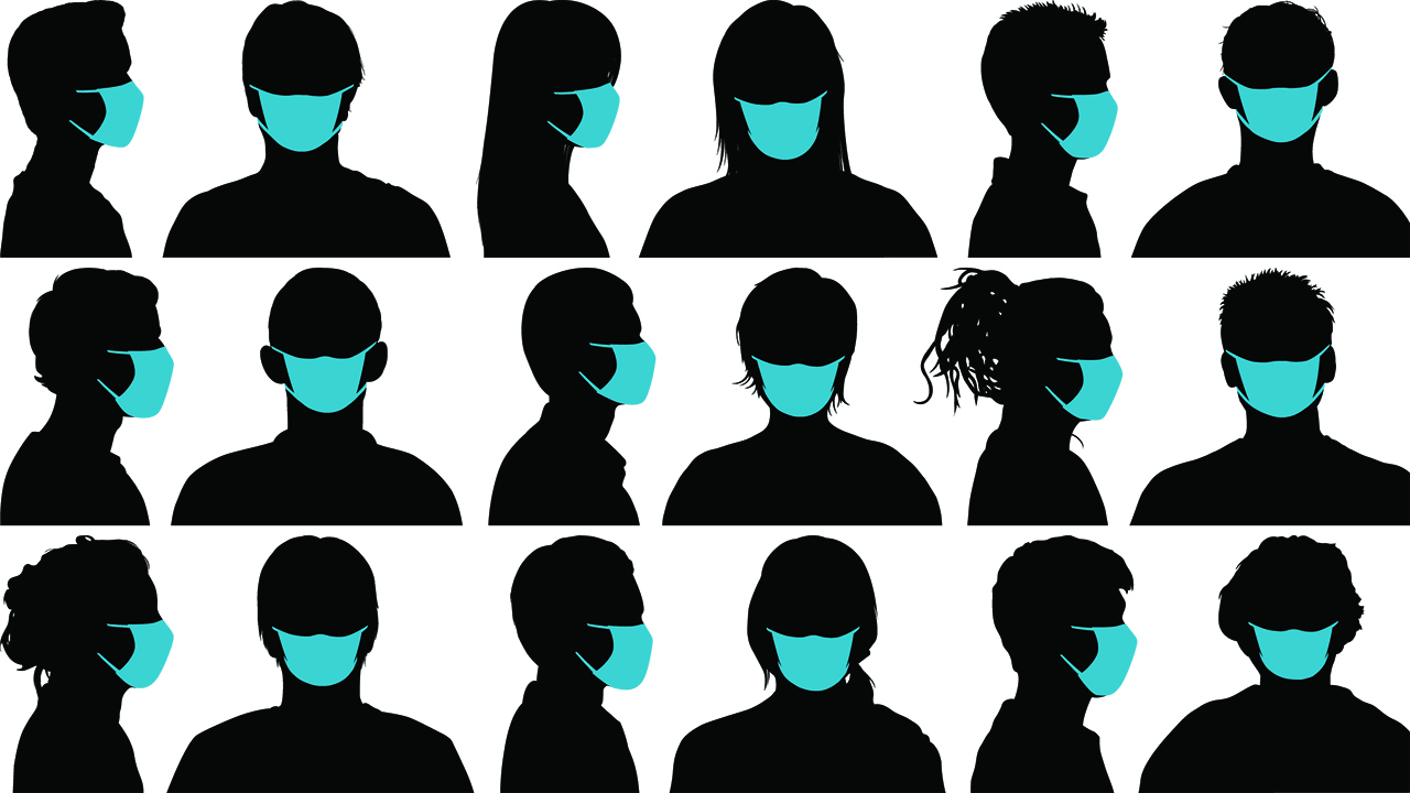 An illustration of silhouettes in masks for a piece on new covid-19 buzzwords