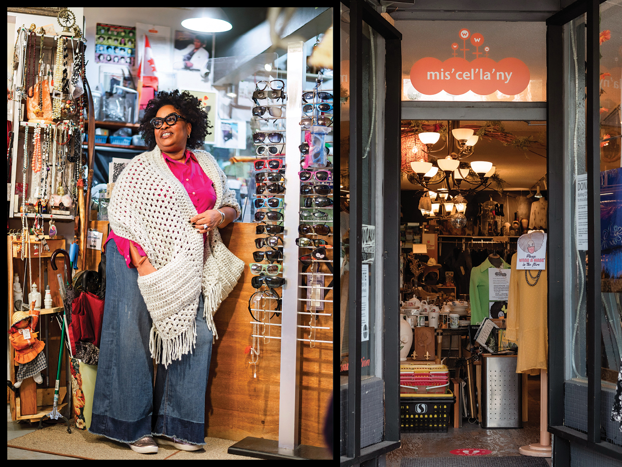 A photo of Portia Sam in her vintage shop, Miscellany Finds