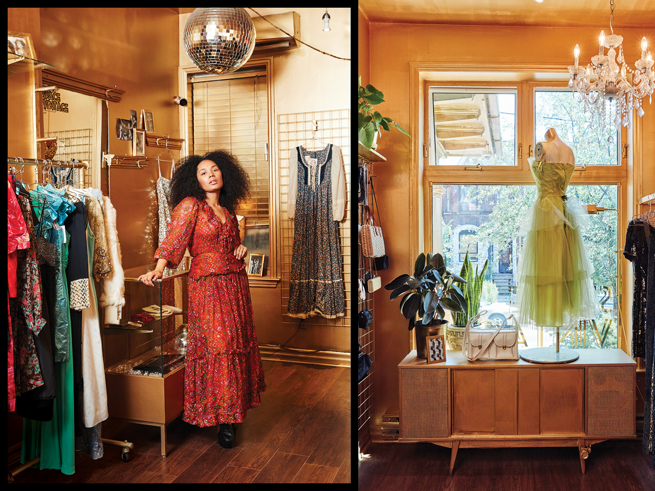 A photo of Space VIntage owner Natasha Roberts in an orange gown in her shop