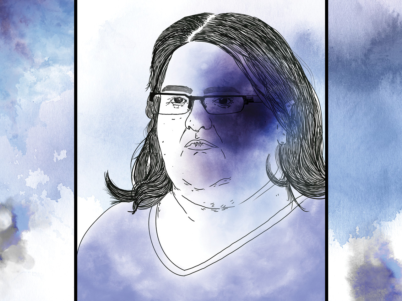 An inky illustration of Elizabeth Wettlaufer