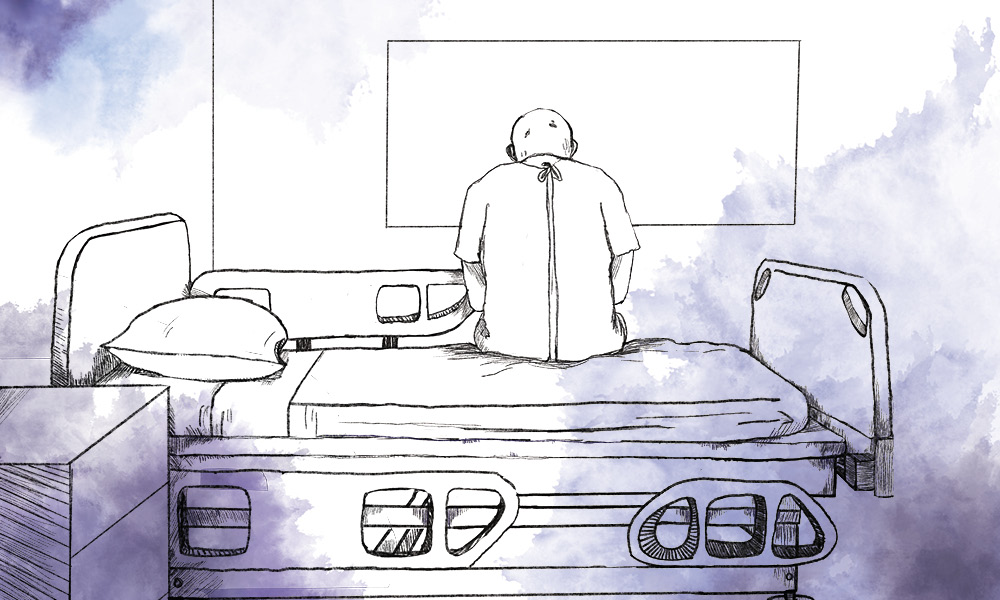 An inky illustration of a man's back; he's dressed in a hospital gown and sitting alone on a bed