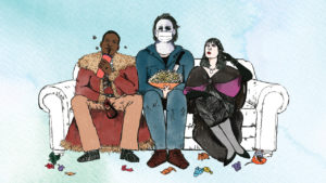 An illustration of Candyman, Michael Myers and Anjelica Huston as a witch watching a movie together.