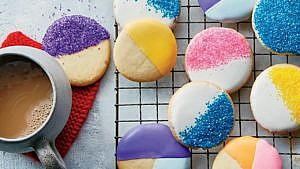 No-roll sugar cookies with royal icing on cooling rack
