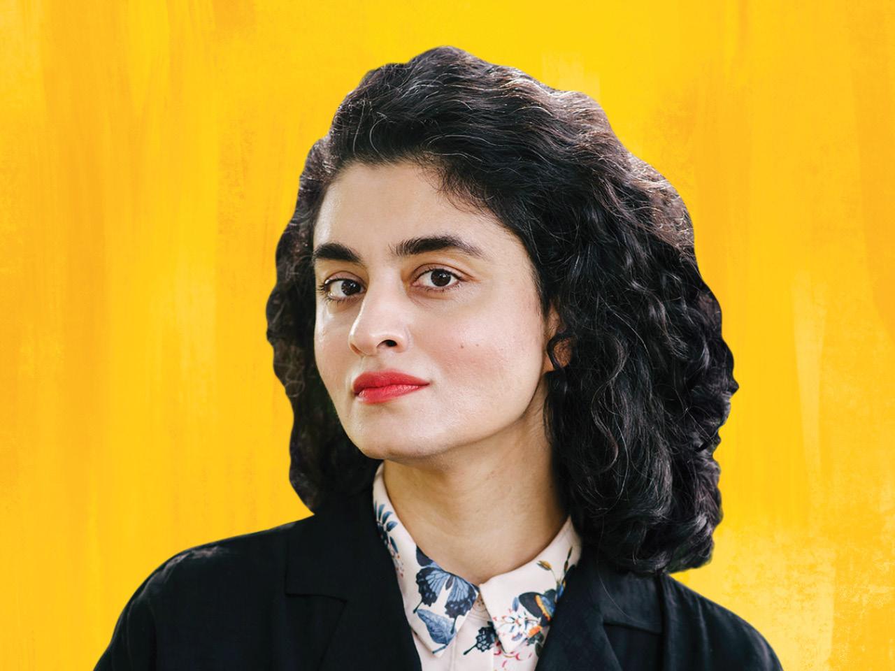 A photo of author and photgrapher Samra Habib on a yellow background