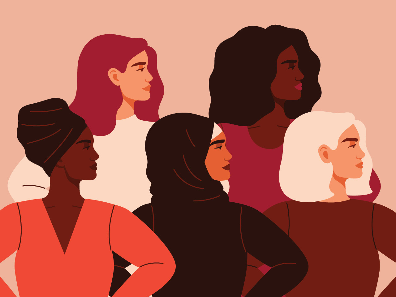 An illustration of a group of women from various racial backgrounds, all facing the same director