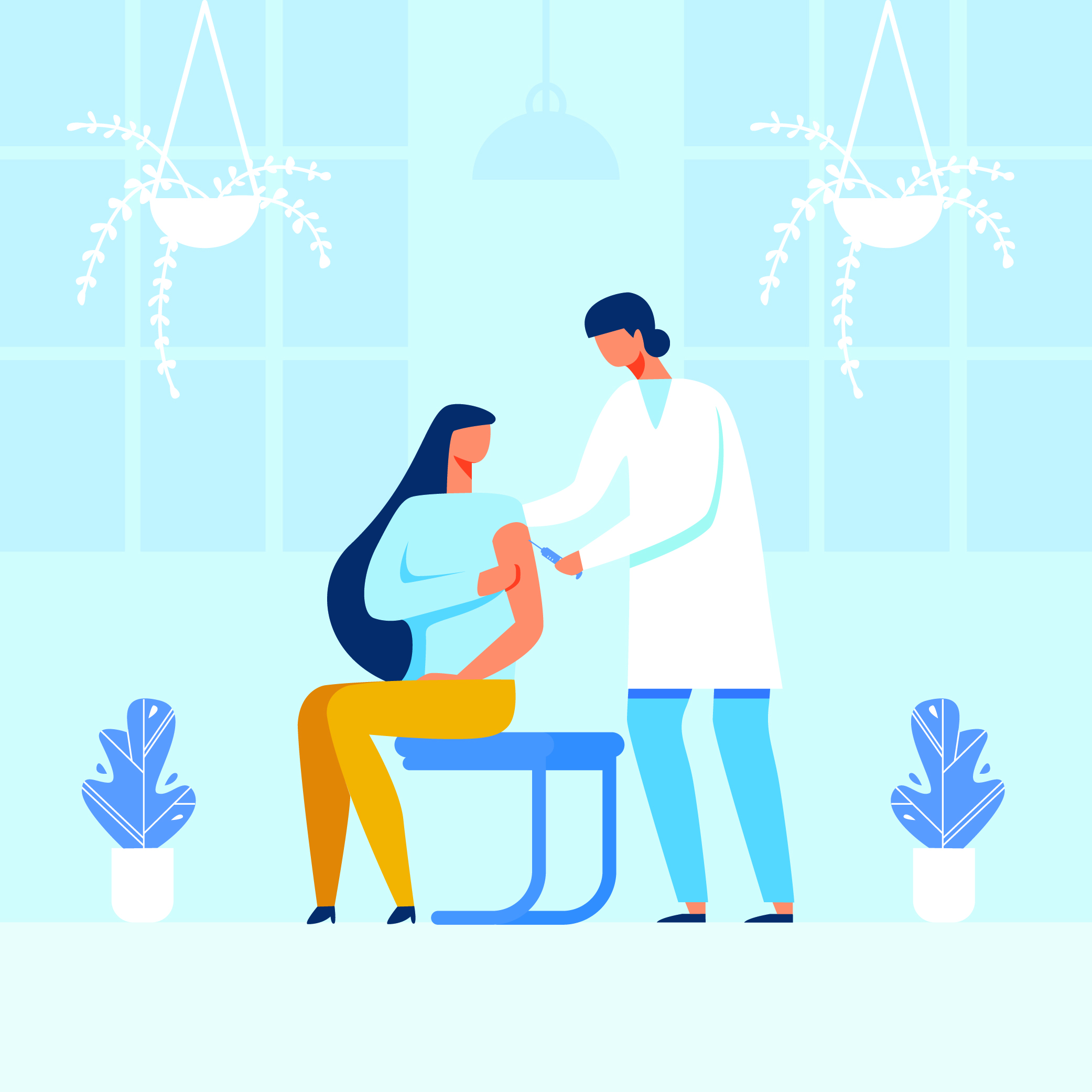An illustration of a doctor giving a woman an injection for an explainer on what's going on with a COVID-19 vaccine