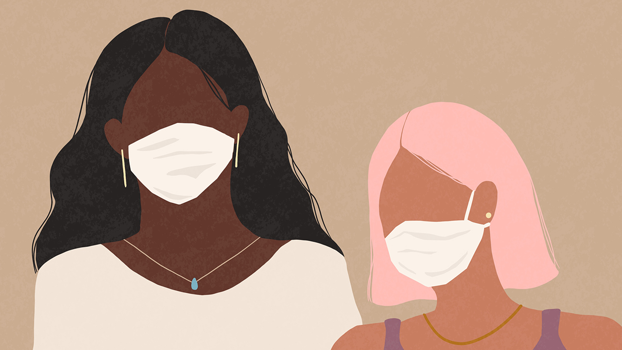 An illustration of two women wearing non-medical face masks for a piece on Canada's new three-layer mask recommendations