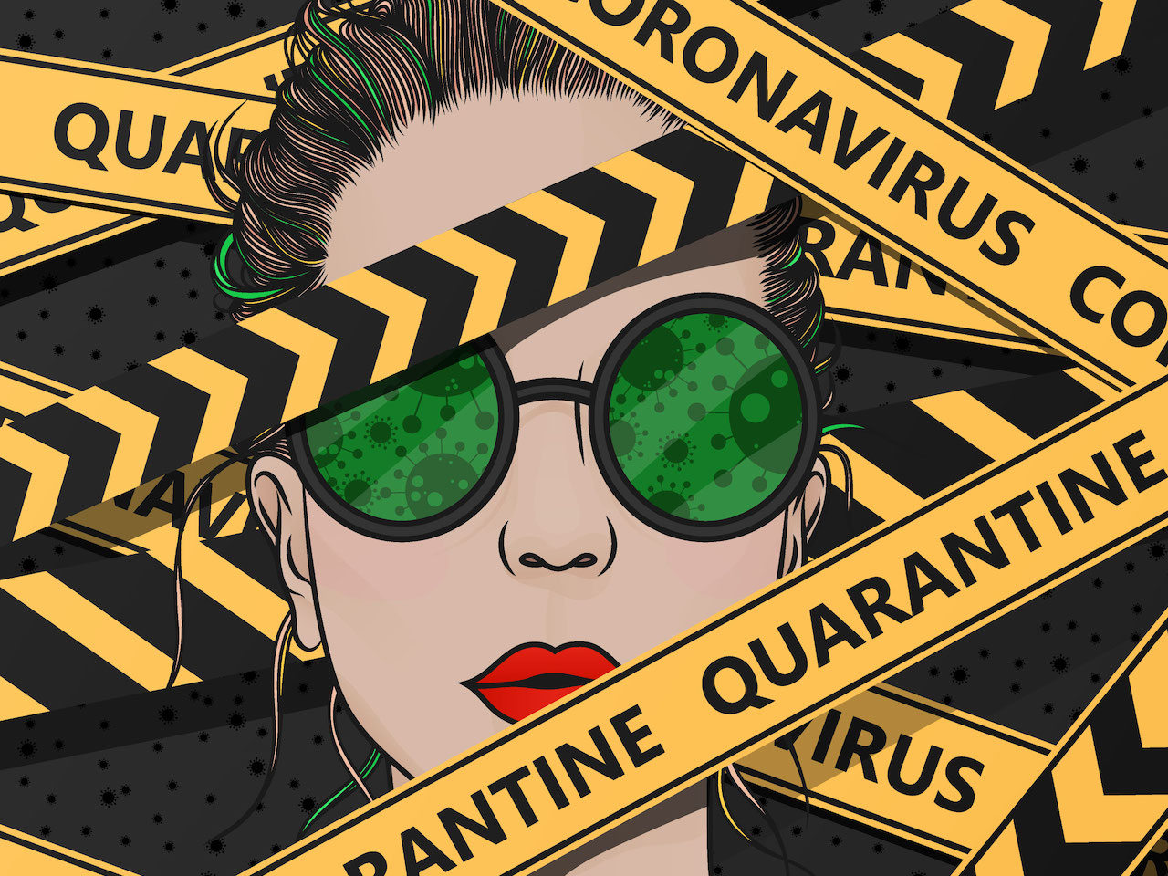 """An illustration of a woman's face covered by caution tape that reads """"quarantine"""""""
