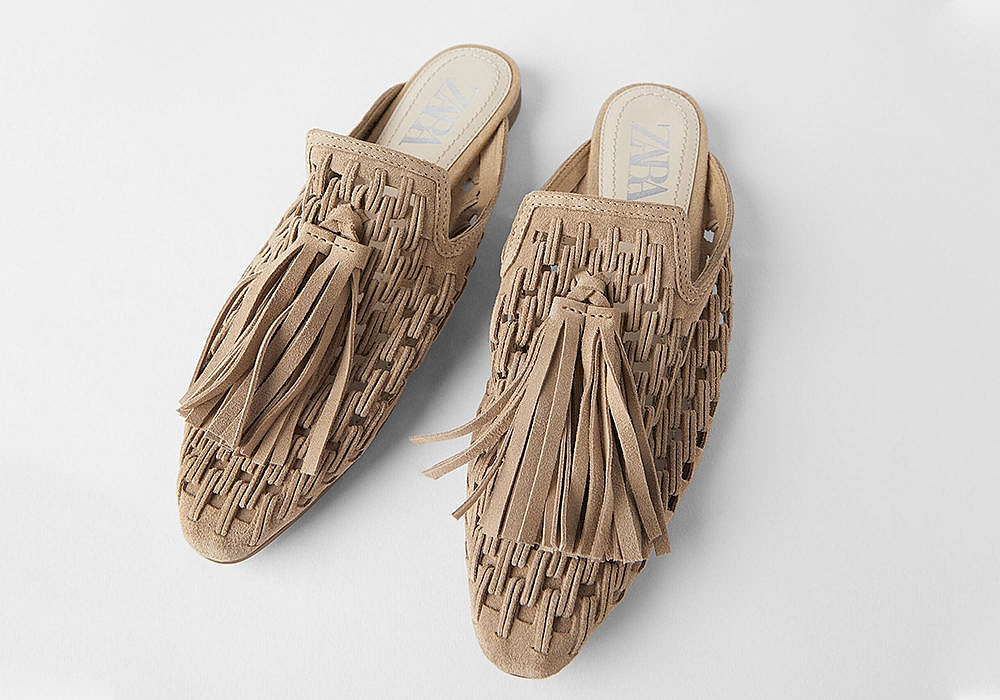 Zara Woven Flat Leather Mules with Tassels