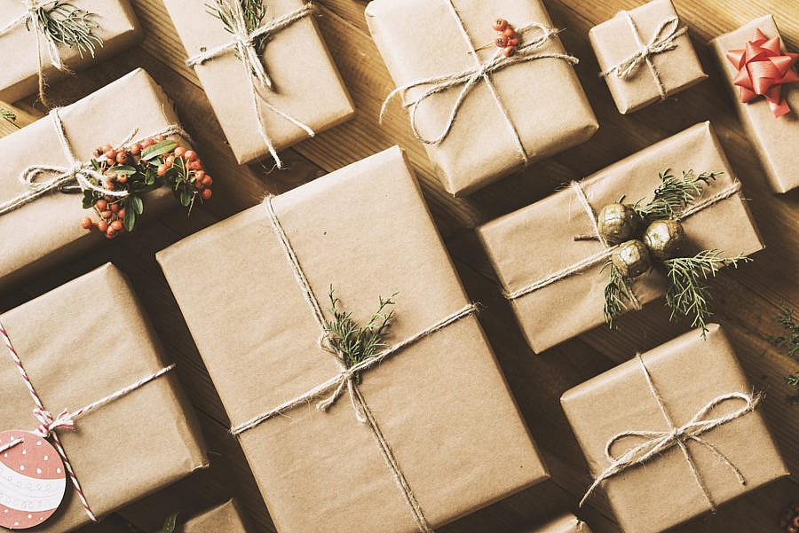 Presents wrapped in twine and Kraft paper