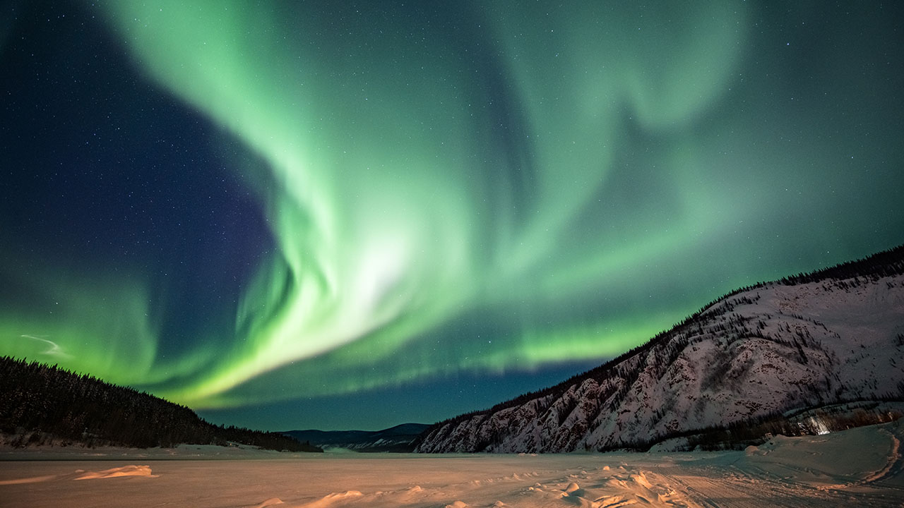The northern lights over Yukon in winter