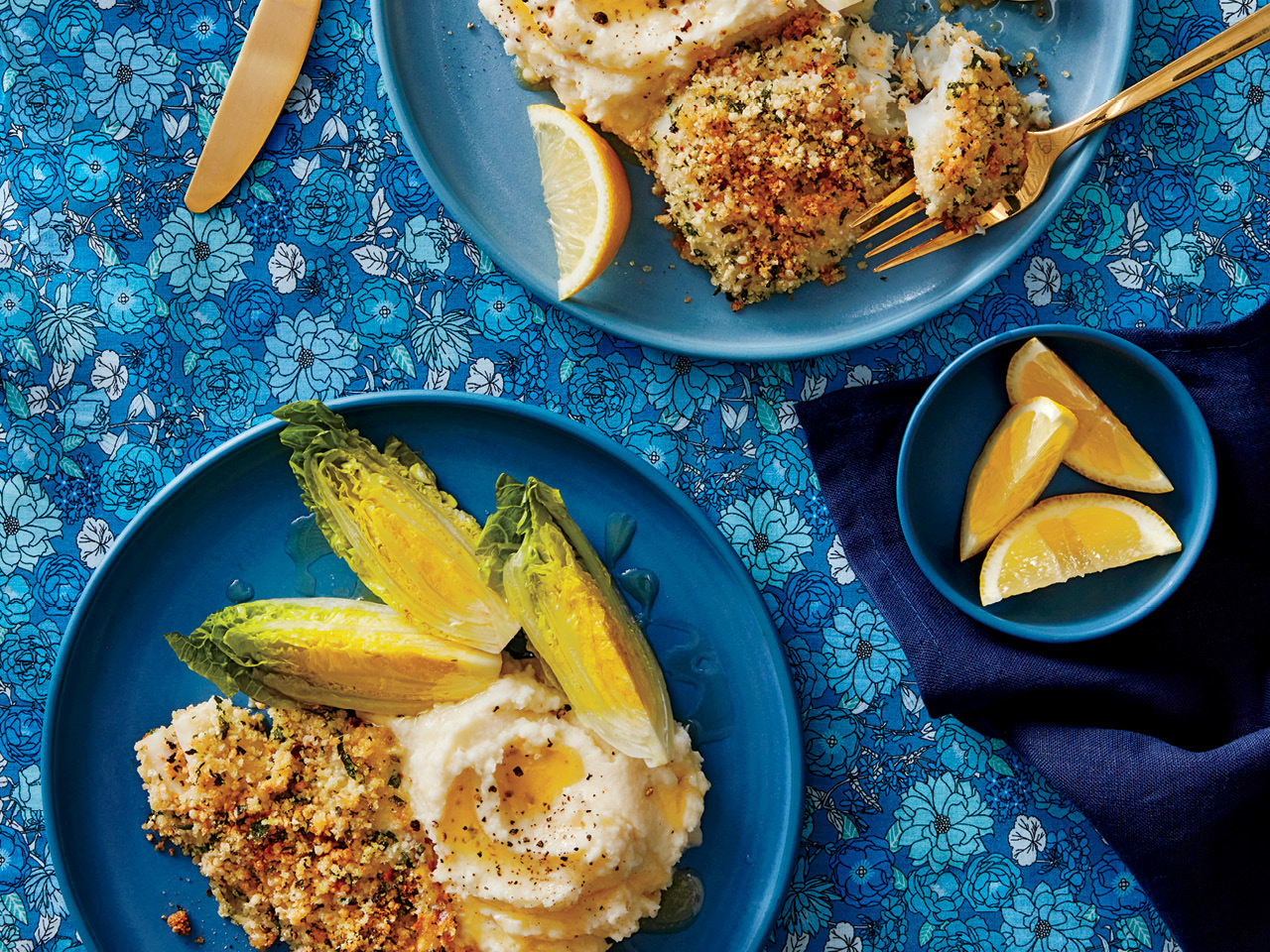 Herb-Crusted Haddock with Cauliflower Purée