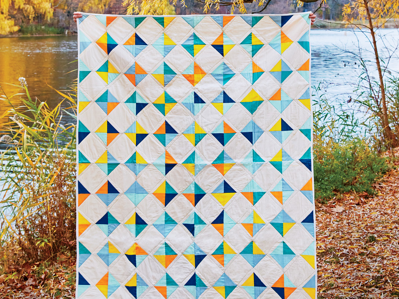 The writer's fourth project, a Tiny Tile quilt. Pattern by Purl Soho.