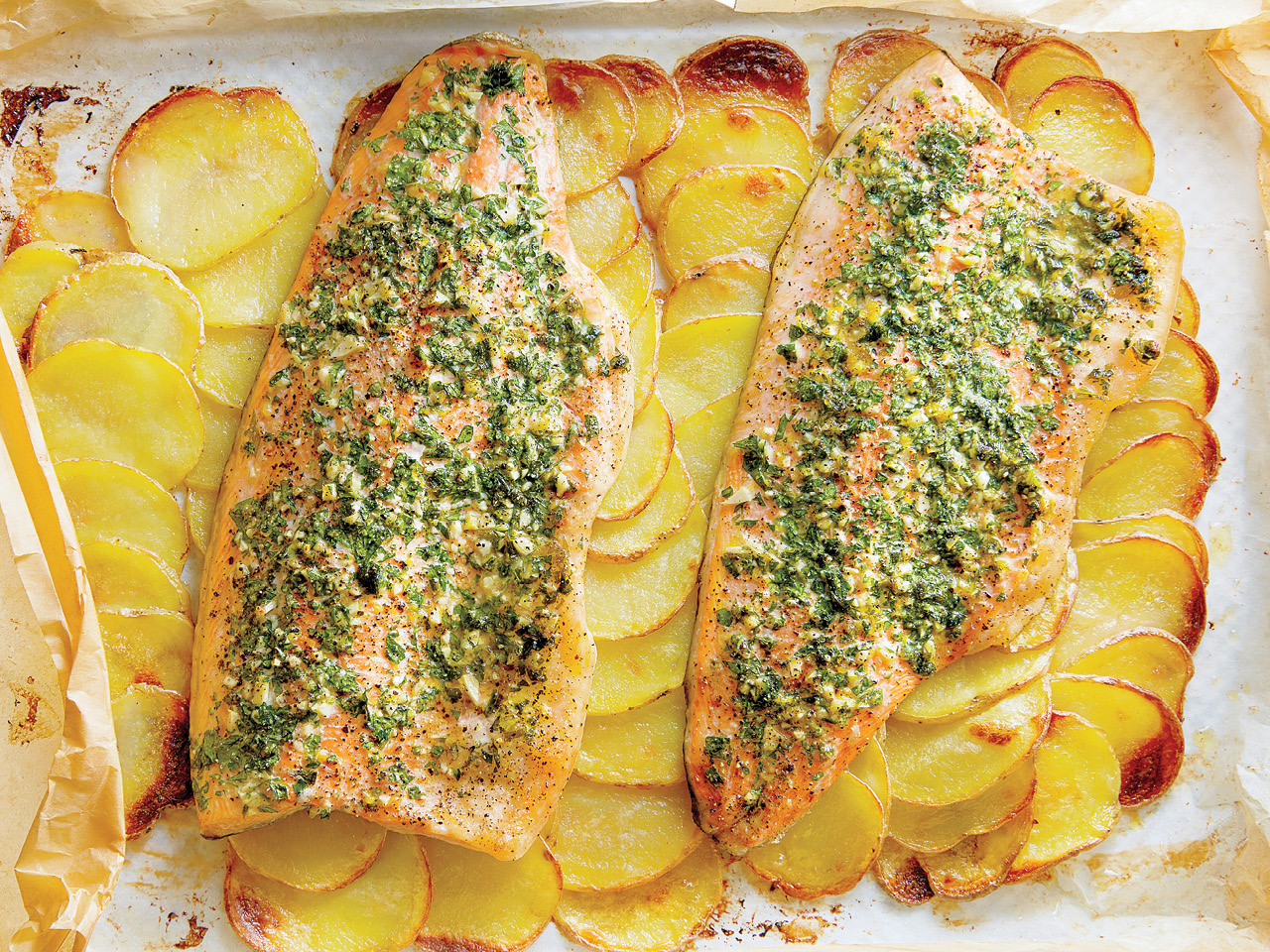 Baked Rainbow Trout Fillets With Potato Tiles