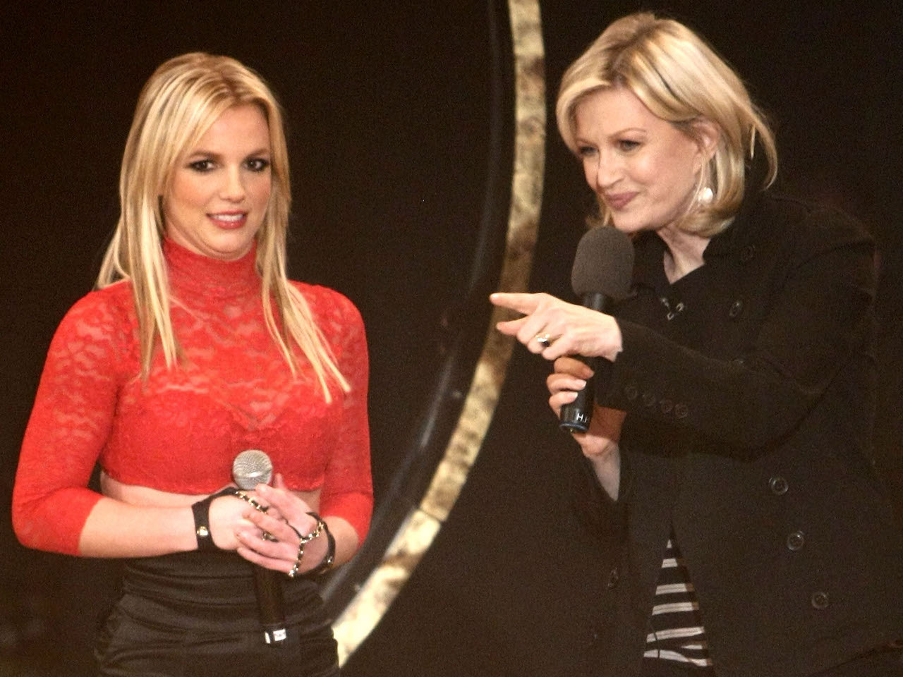 A photo of Britney Spears with Diane Sawyer in 2008.