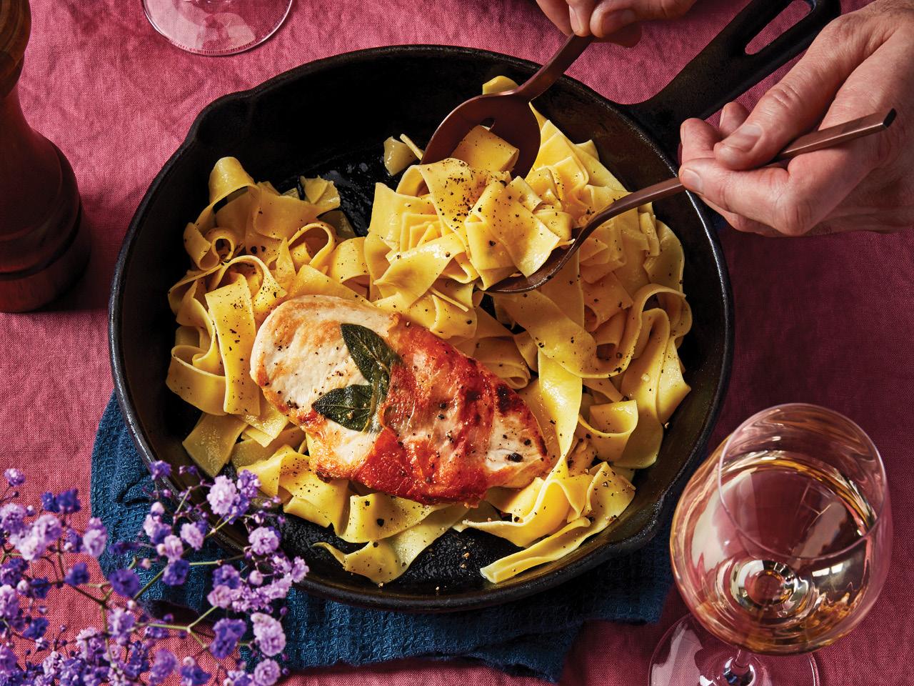 Chicken Saltimbocca with Fresh Pasta