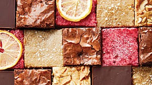 Variety of multi-coloured chocolate, maple, and lemon dessert squares