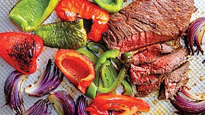 Easy steak fajitas fillings on roasting pan