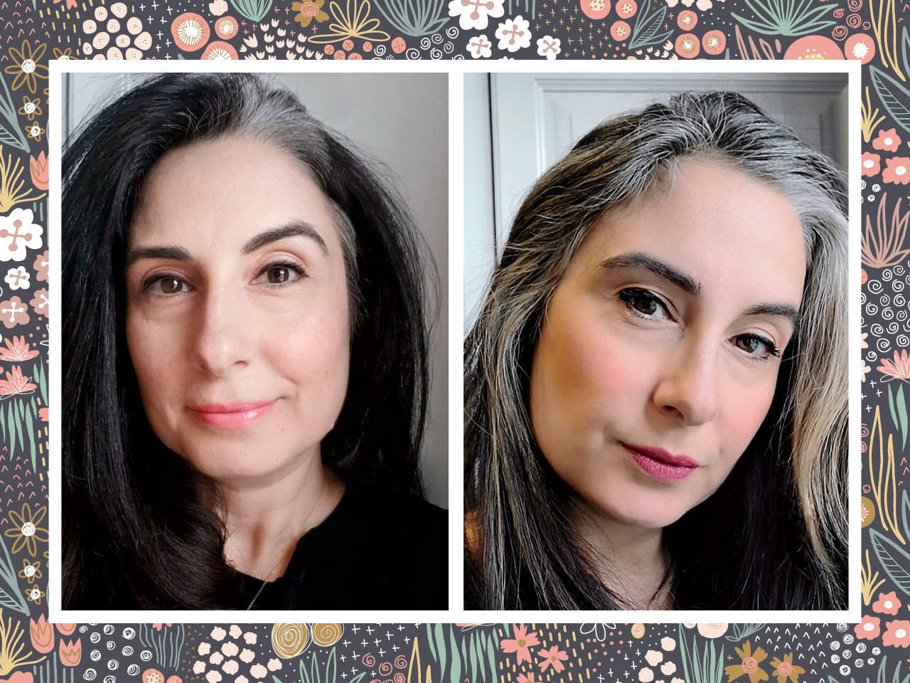 Two photos of the same woman with hair and a grey streak, in the right photo the grey streak is bigger